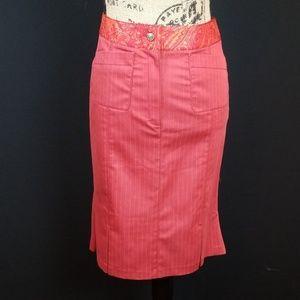 Alain Manoukian red paisley stripe pencil skirt M2